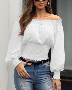 Dotted Off The Shoulder Top