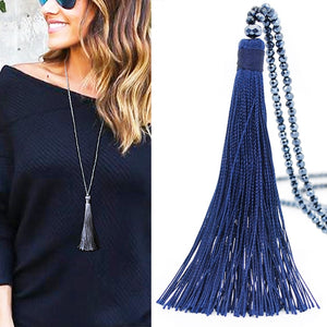 "Wear this trendy Long Tassel Necklace this season or give as a gift. Featuring a long stranded bead chain and a long pretty tassel. Choose from 10 colors. Delivery 4-13 days. From our Utterly Unique Boutique. Description: Fashion Element: Beads, Material: Acrylic, Cotton, Chain Length: 35.4"", Tassel Length: 4.7"", Chain Type: Stranded Beads."
