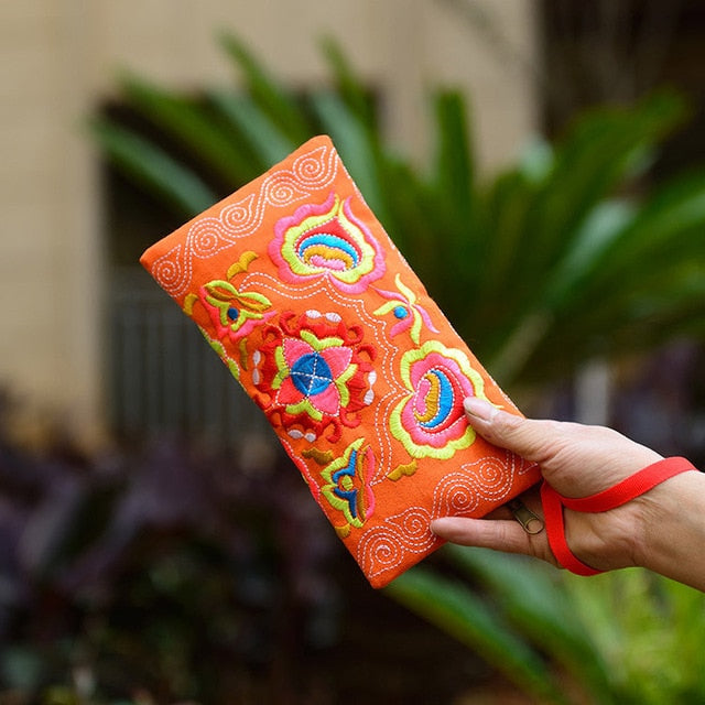 Embroidered Wristlet Wallet