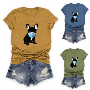 Comfy and appropriate. This really cute Masked Dog T-Shirt has short sleeves, a crew neckline and a dog wearing a mask. Choose from blue, green or gold. Size s-4XL. Delivery 4-13 days. From our Utterly Unique Boutique. Description: Neckline: Crew,Sleeve Length: Short, Material: Cotton Blend, Pattern: Dog With Mask, Closure: Pullover, Wash: Cold Water.