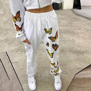 Add a little comfort to your look this season with these super cute Butterfly Sweatpants. Featuring a full length, butterfly print on one leg, pockets and high elastic waistline. Color white. Delivery 4-13 days. From our Utterly Unique Boutique. Description: Material: Polyester, Cotton, Length: Full, Fashion Element: Butterfly Print, Pockets, Waistline: High, Elastic.