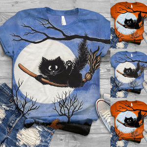 Perfect for Halloween! This Halloween T-Shirt can be paired with jeans or pants. It features a short sleeve, crew neckline and a cute printed cat on a broom. Color blue or orange. Size S-3XL. Delivery 4-13 days. From our Utterly Unique Boutique. Description: Sleeve Length: Short, Material: Polyester Blend, Pattern: Cat, Broom.