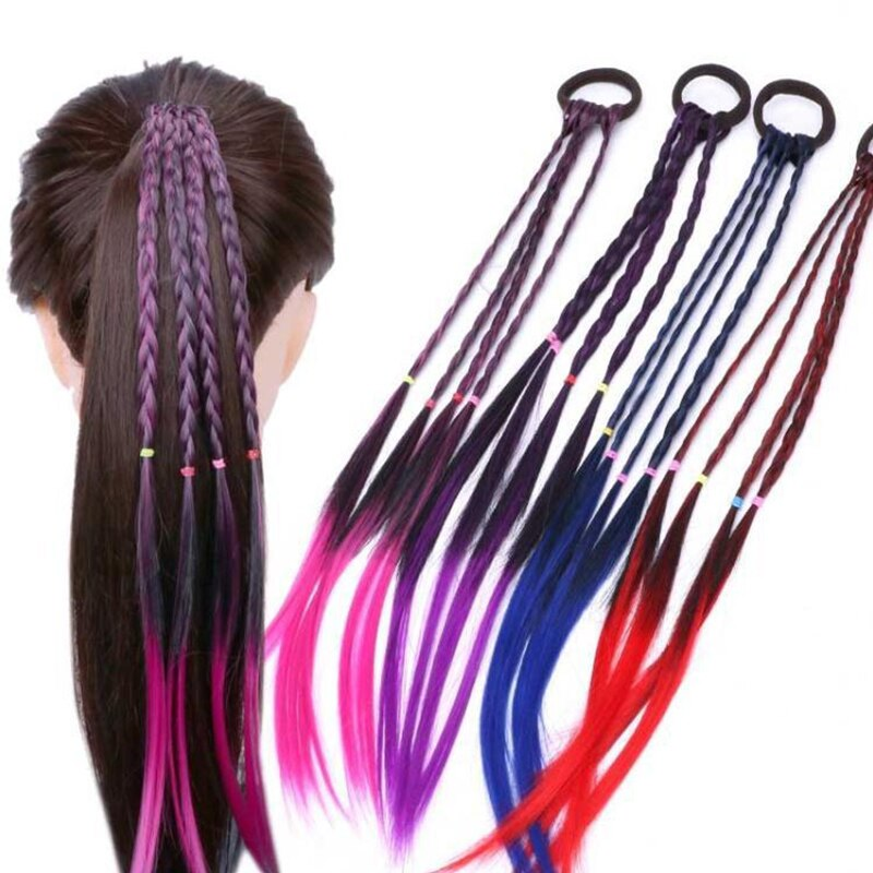 "Get that look you want with this easy to put on Colored Braid Hair Tie. It features an elastic band, 4 braided pieces and rubber bands. Choose from 4 fun colors. Delivery 4-13 days. From our Utterly Unique Boutique. Description: Fashion Element: Braids, Rubber Bands, Closure: Elastic Tie, Length: 17.7"" Long."