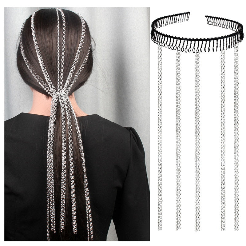 "Get that sassy look with this easy to put on Metal Hair Extension Band. It features a hairband that doesn't put pressure on your head with long linked metal chains attached. Choose from 4 patterns. Delivery 4-13 days. From our Utterly Unique Boutique. Description: Fashion Element: Chains, Type: Hairband, Chain Length: 20"", Weight: 40g, Headband: 4.8"", Material: Metal."