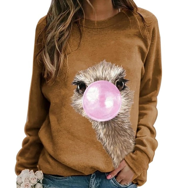 Stay warm this season with this Cute Animal Sweatshirt. Pair with your favorite jeans or pants. Featuring a full length sleeve, pullover, crew neckline and printed ostrich, donkey or giraffe pattern. Choose from 6 colors. Size S-3XL. Delivery 4-13 days. From our Utterly Unique Boutique. Description: Material: Cotton Blend, Sleeve Length: Full, Neckline: Crew, Type: Pullover, Hooded: No, Pattern: Ostrich, Donkey, Giraffe.