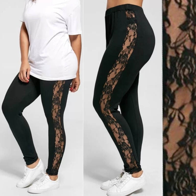 You'll feel great when you put on a pair of these Side Lace Leggings. Featuring a high elastic waist, solid print, ankle length and a pretty floral lace down the side of the leg. Color black. Size L-3XL. Delivery 4-13 days. From our Utterly Unique Boutique. Description: Material: Spandex, Rayon, Pattern: Solid, Waistline: High, Elastic, Length: Ankle, Thickness: Thin.
