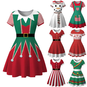 Be festive with these Charming Holiday Dresses! Featuring super cute all around holiday patterns, a crew neckline, short sleeves, flare bottom and falls above the knee. Choose from 9 different patterns. Delivery 4-13 days. From our unique boutique. Description: Length: Above Knee, Neckline: Crew, Material: Cotton Blend, Sleeve Length: Short, Pattern: Holiday, Fashion Element: Flare Bottom, How To Wash: Hand Wash, Cold.