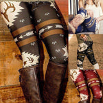 These fun Deer Leggings are stylish and comfortable. They feature a high, elastic waistline, deer pattern and are ankle length. Pair with boots. Size S-5XL. Choose from 4 colors. From our be unique boutique. Description: Material: Polyester, Length: Ankle, Waistline: High, Elastic, Pattern: Deer.