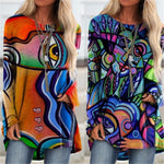 Simple to dress up or dress down, this Long Abstract Top features a boat neckline, full sleeves, long length and a colorful abstract pattern. Pair with jeans or pants for a great look. Choose from orange or blue. Size S-3XL. Delivery 4-13 days. From our Utterly Unique Boutique. Description: Neckline: Boat, Sleeve Length: Full, Material: Polyester Length: Long, Pattern: Abstract.