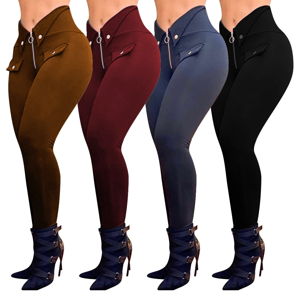 These super cute High Waist Skinny Pants features a high waistline, mock pockets, zipper closure, buttons, skinny fit and a solid pattern. Pair with boots. Available color burgundy, black or brown. Delivery 4-12 days. From our unique boutique. Description: Length: Full Closure: Zipper Fly, Material: Polyester Blend, Pattern: Solid Fit: Skinny, Waistline: High, Fashion Element: Buttons, Pockets.