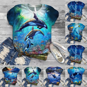 Have fun down under with this cute Ocean T-shirt. It features an O-neckline, short sleeves and a beautiful ocean print. Choose from 6 different patterns. Delivery 4-13 days. From our Utterly Unique Boutique. Description: Neckline: O-Neckline, Material: Cotton, Polyester, Sleeve Length: Short, Pattern: Ocean.
