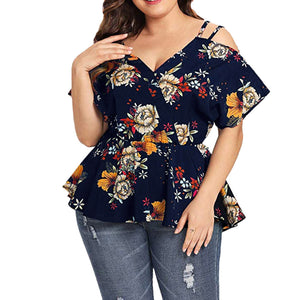 Add a dash of style to your wardrobe with this darling Floral Peplum Top. Featuring a V-neckline, V-backline, cold shoulder, spaghetti straps, short sleeves and a floral print. Color navy. Size XL-5XL. Delivery 4-13 days. From our unique boutique. Description:, Sleeve Length: Short, Material: Polyester, Pattern: Floral, Fashion Element: Cold Shoulder,  Neckline: V-Neckline, V-Backline, Straps: Spaghetti Straps.