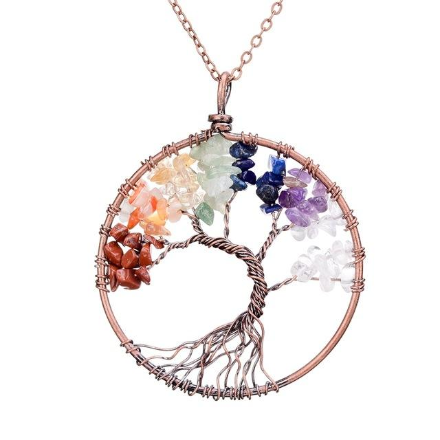 Tree Of Life Pendant - Utterly Unique Boutique - Ships FREE - BEAUTIFUL - This beautiful tree of life pendant is round with a tree in the middle and features a link chain and stone. Your choice of 16 colors. From our Utterly Unique Boutique. Description: Chain: Link, Metal: Copper Alloy, Style: Round, Pattern: Tree, Stone: Quartz, Amethyst, Rock Crystal, Citrine, Opal, Agate Pendant Size: 2.2""