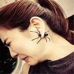 "Black Spider Earring - Utterly Unique Boutique - 3D - Ships FREE - 3.99 - Putting on this scary spider is perfect for handing out candy on Halloween or any party. It features a push backing, is made from acrylic and comes in two pieces. Available color is black. From our Utterly Unique Boutique. Description: Material: Acrylic, Metal: Zinc Alloy, Backing: Push-Back, Shape: Spider, NOTE: One Piece, NOT One Pair, Size: 2"" x 1.6"" (4.3 cm x 4 cm)."