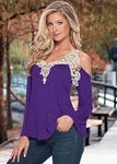 Cold Shoulder Lace Top - Flirty Sleeves - Unique Boutique - FREE SHIP - This flattering lace applique fills the neckline and shoulders. This cotton and spandex cold shoulder top is accented with flirty bell sleeves. Pair it with jeans, capris or leggings. Available in 8 colors. From our unique boutique. Available in 8 colors. From our unique boutique. Description: Pattern: Solid, Fashion Element: Lace, Material: Spandex, Cotton.