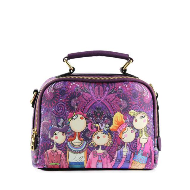 Adorable Women's Handbag - Utterly Unique Boutique - UNIQUE - FREE SHIPPING - Your sure to receive compliments with this adorable handbag. Featuring printed women on the front, interior cell phone pocket, zipper pocket, slot pocket, a detachable shoulder strap, handle and zipper closure. Your choice of purple, red or green. From our unique boutique. Description: Closure: Zipper, Hardness: Hard,