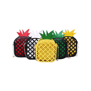 Pineapple Handbag - Utterly Unique Boutique - $14.00 - FREE SHIPPING - Give them something to talk about with this cute hollow out pineapple handbag that's soft and features a single chain, zipper closure and interior cell phone pocket. Available in 5 fun colors. From our Utterly Unique Boutique. Description: Hardness: Soft, Closure: Zipper, Interior: Cell Phone Pocket, Number Of Straps: