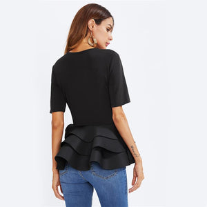 Tiered Ruffle Peplum Top - Utterly Unique Boutique