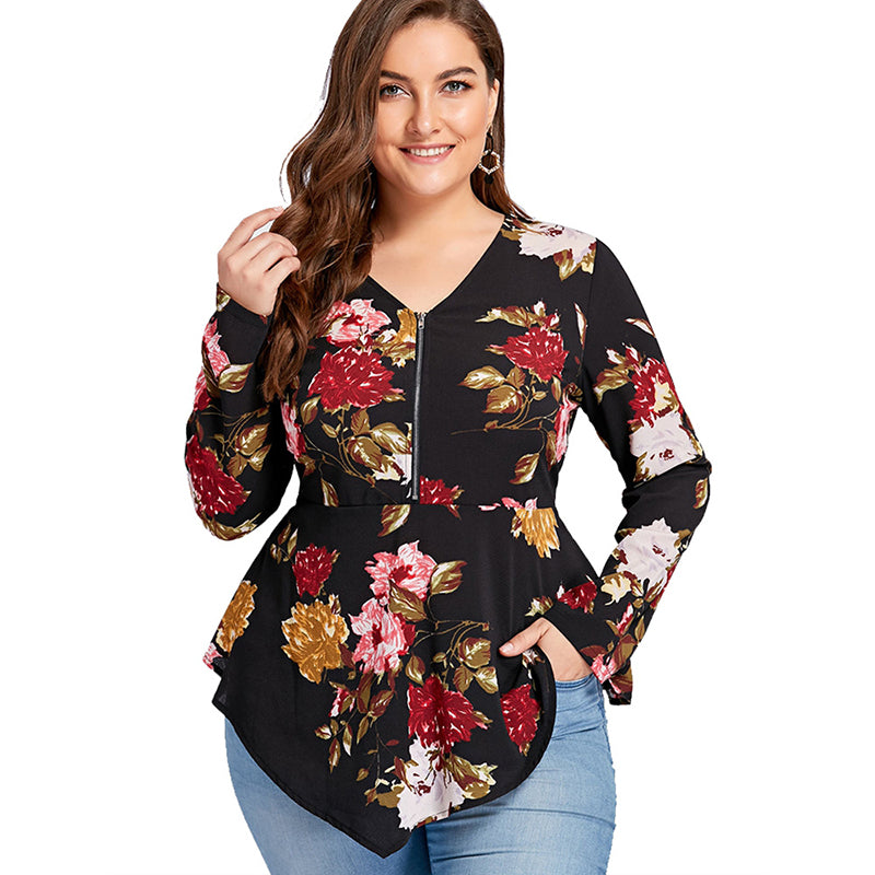 Zipper Floral Top - Be Unique Boutique - Super Cute - Curvy - FREE SHIP - This sharkbite hemline top is cute, flattering and perfect for the season. It features a full length sleeve, floral pattern, v-neckline and front zipper closure. Pair with pants or jeans. From our be unique boutique. Description: Sleeve Length: Full, Pattern: Floral, Collar: V-Neck, Material: Cotton, Polyester, Fashion