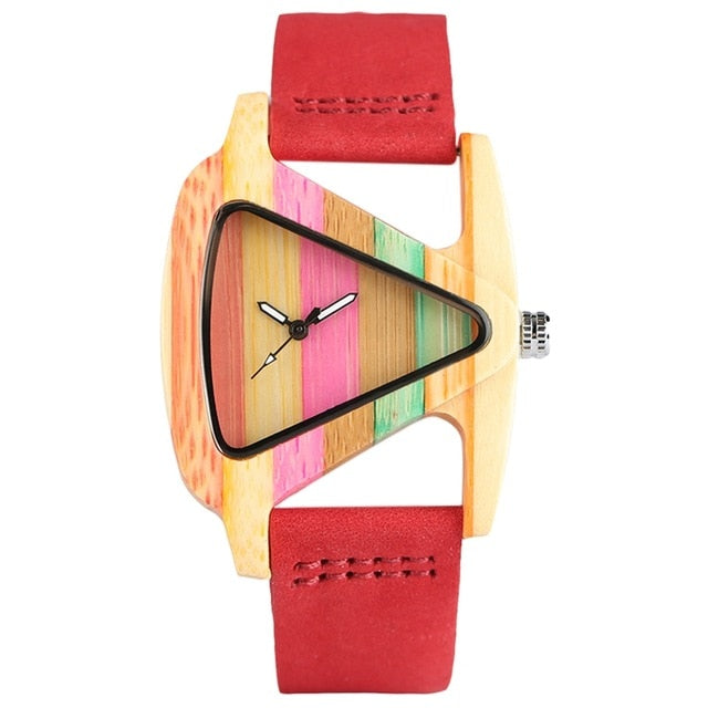 "Triangle Bamboo Watch - Utterly Unique Boutique - FREE SHIP - SO COOL - Be unique with this awesome triangle bamboo watch. It features a leather band with a buckle closure, triangular case shape, bamboo material and is extremely light. Choose from 2 color patterns. From our Utterly Unique Boutique. Description: Band Width: 1"" (2.2 cm), Dial Diameter: 1.5"" (3.7 cm), Movement: Quartz, Case Thickness"