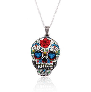 "Skull Necklace - Utterly Unique Boutique - SHIPS FREE - Very Colorful - Complete your look with this fun and colorful skull necklace. It feature a link chain and skull pattern. Choose from 4 colors and patterns. From our Utterly Unique Boutique. Description: Chain: Link, Pendant Size: 1.4"" x 0.6"" (3.5 cm x 1.5 cm), Length: 17.7"" (45 cm), Pattern: Skull, Metal: Zinc Alloy."