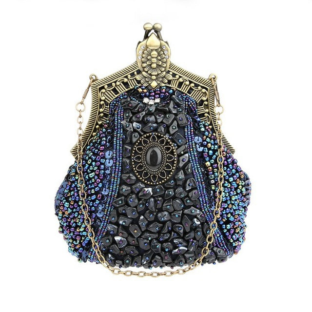 Antique Jewel Bag - Wholesale Handbags And Accessories - FREE SHIPPING - Just in time for the up coming season, these must have antique bags are a steal! They are soft, adorned with jewels, have a clasp closure and a single chain strap. Choose from 9 colors. We're happy to feature this item from our wholesale handbags and accessories. Description: Fashion Element: Rhinestones, Cubic Zirconia Diamonds, Beads, Lining