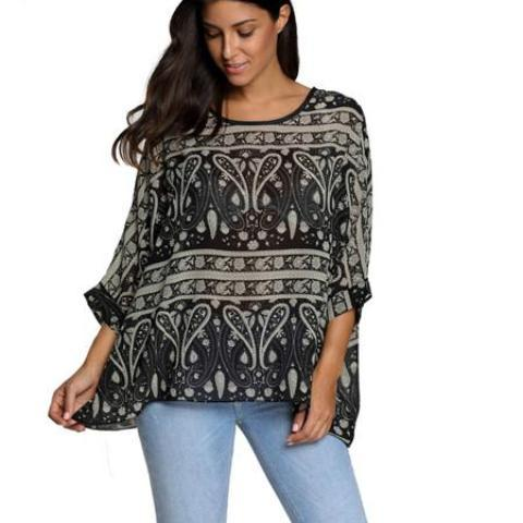 Summer Top - Unique Boutique - Curvy - FLOWY - FREE SHIP - $14.99 - This super cute, flowy, versatile top goes well when paired with jeans or pants. Featuring 3/4 sleeves, batwing sleeve style, printed pattern, high-low hemline and a scooped neckline. Your choice of 31 different patterns and colors. From our Unique Boutique.  Collar: Scoop, Hemline: High-Low, Sleeve Length: Three-Quarter, Fabric: Chiffon, Pattern: Print, Sleeve Style: Batwing.