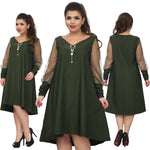 V-Neck Summer Dress - Unique Boutique - CURVY - FREE SHIP - ELEGANT - Elegant and modern, this loose and comfortable dress has partially sheer/dotted sleeves, asymmetrical hemline, v-neckline and falls at the knee. Choose from green, black or wine. From our unique boutique. Description: Pattern: Solid, Neckline: V-Neck, Silhouette: Loose, Sleeve Length: Full, Material: Polyester, Spandex, Dress Length