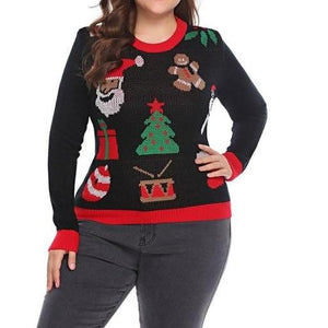 Knitted Christmas Sweater - Unique Boutique - So Cute - CURVY - SALE - Add a festive touch to your holiday with these cute sweaters. Easy care acrylic with a crew neckline and full sleeves. Choose from 6 patterns. From our unique boutique. Description: Collar: Crew, Closure: Pullover, Sleeve Length: Full, Material: 100% Acrylic, Pattern: Holiday.