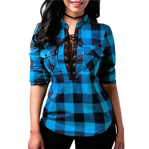 Lace Up Plaid Top - Utterly Unique Boutique - FREE SHIPPING - TRENDY - This super cute, cotton plaid shirt can be dressed up or dressed down and will make a versatile addition to your wardrobe. Featuring pockets, a lace up front, plaid pattern, turn-down collar and full sleeves. Choose from blue, green, red or gray. From our Utterly Unique Boutique. Description: Fashion Element: Pockets, Lace Up Front, Sleeve