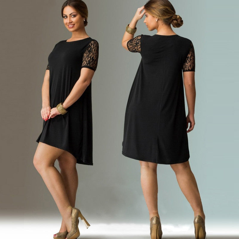 Short Sleeve Lace Dress - Unique Boutique - CURVY - FREE SHIP - Flowy - Cool and breezy, this cute, flowy summer dress can go from office to evening. It features a solid pattern, short/lace sleeves, loose fit, crew neckline and falls above the knee. Pair with heels, flats or sandals. Choose from black or red. Size XL-6XL. From our unique boutique. Description: Pattern: Solid, Material: Polyester, Lace, Fashion