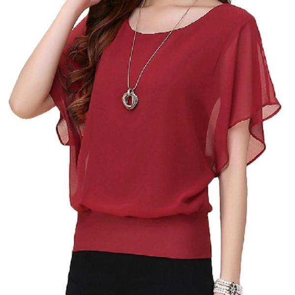 Ruffle Batwing Top - Utterly Unique Boutique - $14.99 - FREE SHIPPING - Cool and comfortable, this stylish chiffon top features a solid pattern, scoop neckline and batwing sleeves with ruffles. Pair it with shorts, capris, jeans or leggings for a beautiful look all season long. Your choice of 5 colors. From our Utterly Unique Boutique. Description: Material: Chiffon, Sleeve Length: Short, Collar