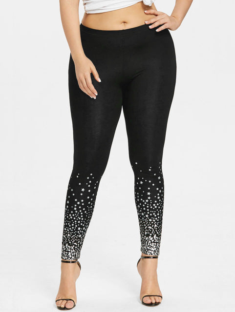 Star Print Leggings - Unique Boutique - CURVY - CUTE - $15.99 - SALE - Slip on these super cute, versatile star print leggings featuring tiny stars scattered below the knee, mid waist and ankle length. From our unique boutique. Description: Length: Ankle, Material: Polyester, Spandex, Waist: Mid, Pattern: Stars.