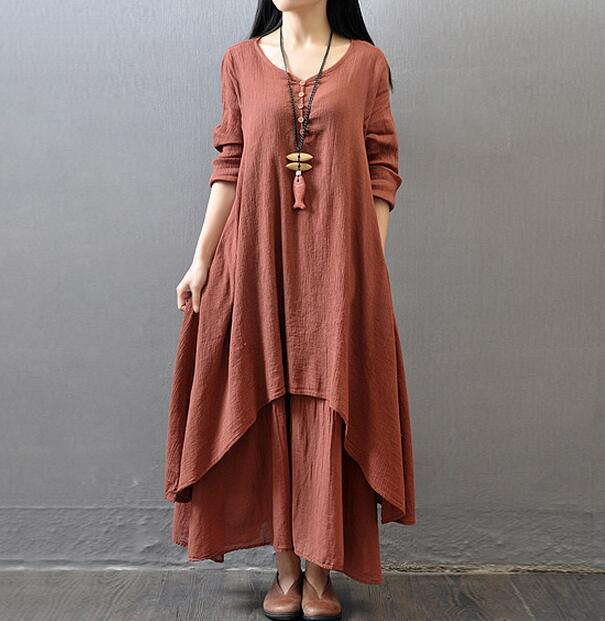 Cotton Maxi Dress - Utterly Unique Boutique - CURVY - FREE SHIP - FLOWY - This super cute, flowy, cotton maxi dress is so comfy you won't want to take it off. It features full sleeves, a scoop neckline, decorative buttons, tiers, loose fit, solid pattern and falls to the ankle. Choose from 3 colors. From our be unique boutique. Description: Material: Lanon, Cotton, Silhouette: Loose, Pattern: Solid