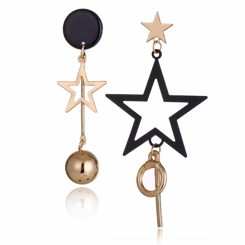"Star Earrings - Utterly Unique Boutique - SALE $5.99 - FREE Shipping - Make your outfit dazzle with these cute star earrings. Featuring an asymmetrical shape and a post backing. From our Utterly Unique Boutique. Description: Material: Acrylic, Metal: Zinc Alloy, Size: 2.5"" long and 3"" long (6.5 cm long and 8.4 cm long) Pattern: Stars, Backing: Post."