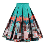 Retro Print Skirt - Utterly Unique Boutique - Be Unique - $24.00 - NEW - This darling pleated retro skirt features a high waistline, is knee length and has a side zipper. Your choice of 18 patterns and colors from our be unique boutique. Dress Length: Knee, Material: Spandex, Cotton, Pattern: Print, Fabric Elasticity: None.