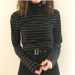 Cotton Heart Turtleneck - Unique Boutique - NEW - $15.99 - FREE SHIP - Pair this cute cotton turtleneck with jeans for a casual look or pants for a dressier look. Featuring a full sleeve and an embroidered red heart on the collar. Choose from 10 colors and 2 patterns. From our unique boutique. Description: Sleeve Length: Full, Material: Cotton, Collar: Turtleneck, Fashion Element: Embroidered Hearts