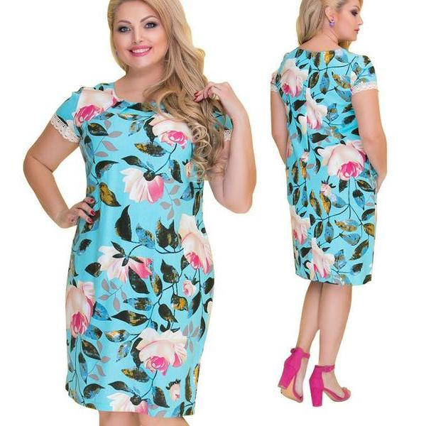 Floral Dress - Utterly Unique Boutique - CURVY - FREE SHIP - CUTE - This floral dress is an eye-catcher with its beautiful printed pattern and is perfect for the office. It features a crew neckline, short sleeves, floral print and falls above the knee. Your choice of 7 patterns and colors. Size L-6XL. From our Utterly Unique Boutique. Description: Dress Length: Above Knee Neckline: Crew