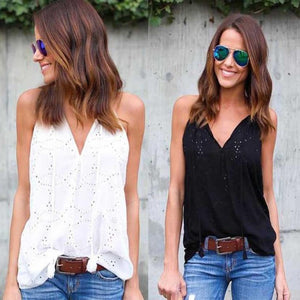 Cotton Hollow Out Sleeveless Top - Utterly Unique Boutique