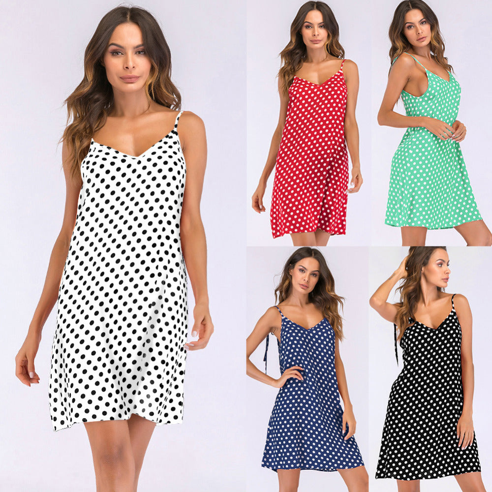 Polka Dot V-Neck Sundress - Be Unique Boutique - $12.99 - SHIPS FREE - Stay cool and look cute in this polka dot v-neck sundress featuring above the knee length, a loose fit, scoop back, spaghetti straps, a v-neckline and a polka dot pattern. Choose from 5 colors. From our be unique boutique. Curvy sizes too. Description: Length: Above Knee, Material: Rayon, Sleeve Length: Sleeveless, Silhouette: Loose, Neckline: