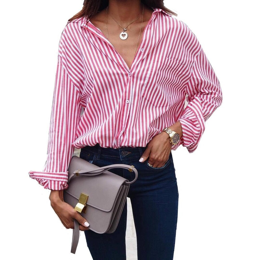 Long Striped Blouse - Unique Boutique - Curvy Sizes Too - $13.99 - NEW - Pair this long blouse with jeans or pants. Featuring a striped pattern, long sleeves, turn-down collar, pockets and a button closure. Choose from white stripes with black, blue or punch from our unique boutique. Description: Fashion Element: Pockets, Sleeve Length: Full, Collar: Turn-Down, Pattern: Striped, Fabric: Broadcloth, Closure: Buttons.