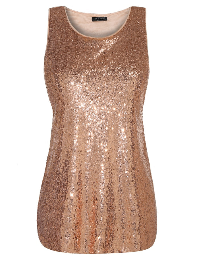 Sequined Sleeveless Top - Unique Boutique - CURVY - SALE - FREE Ship - Embrace your flirty side with this pretty sequined top. Featuring a solid pattern covered in sequins, scooped neckline and is sleeveless. Wear alone or pair with a jacket. Choose from 5 colors. From our unique boutique. Description: Pattern: Solid, Fashion Element: Sequins, Material: Polyester, Spandex, Sleeve: Sleeveless, Neckline