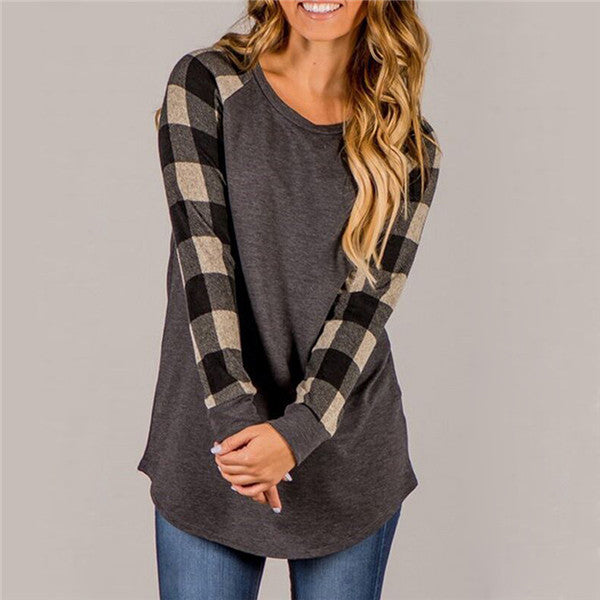 Plaid Sleeve Tunic - Utterly Unique Boutique