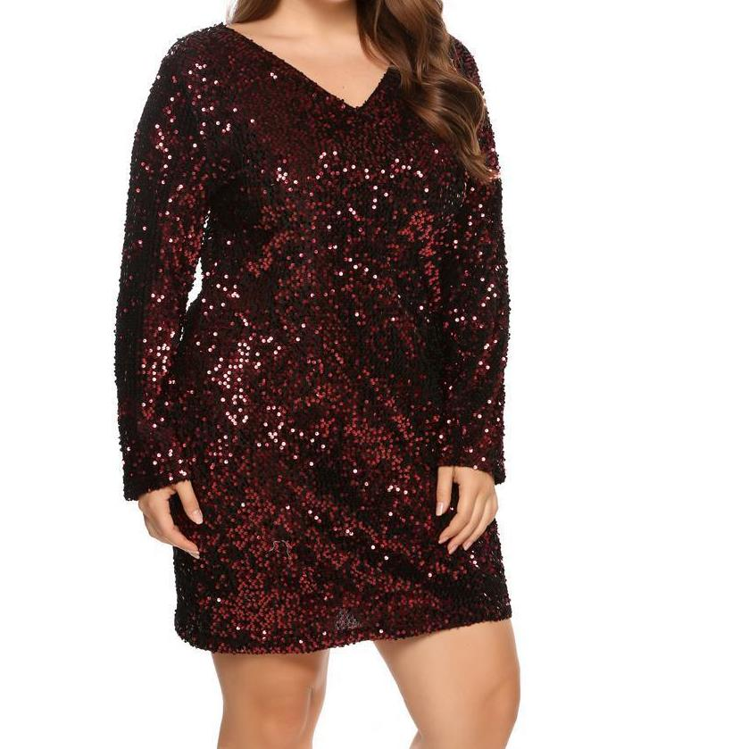 V-Neck Sequined Dress - Unique Boutique - Beautiful - CURVY - $25.99 -  This beautiful dress has a flattering design and looks terrific covered in sequins. Featuring a v-neckline, above the knee length and full sleeves. Choose from black, blue, green or red. From our unique boutique. Description: Dress Length: Above Knee, Neckline: V-Neck, Material: Polyester, Cotton, Sleeve Length: Full, Fashion