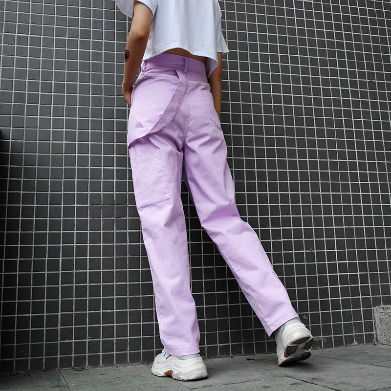Cotton Cargo Pants - Utterly Unique Boutique - TRENDY - FREE SHIP - These super trendy cotton cargo pants will take you into spring and beyond. They feature belt loops, a back strap, full length, loose fit, high waist, pockets, a solid pattern and button/zipper closure. Color lilac. From our Utterly Unique Boutique. Description: Length: Full, Pant Style: Straight, Fit: Loose, Closure: Button