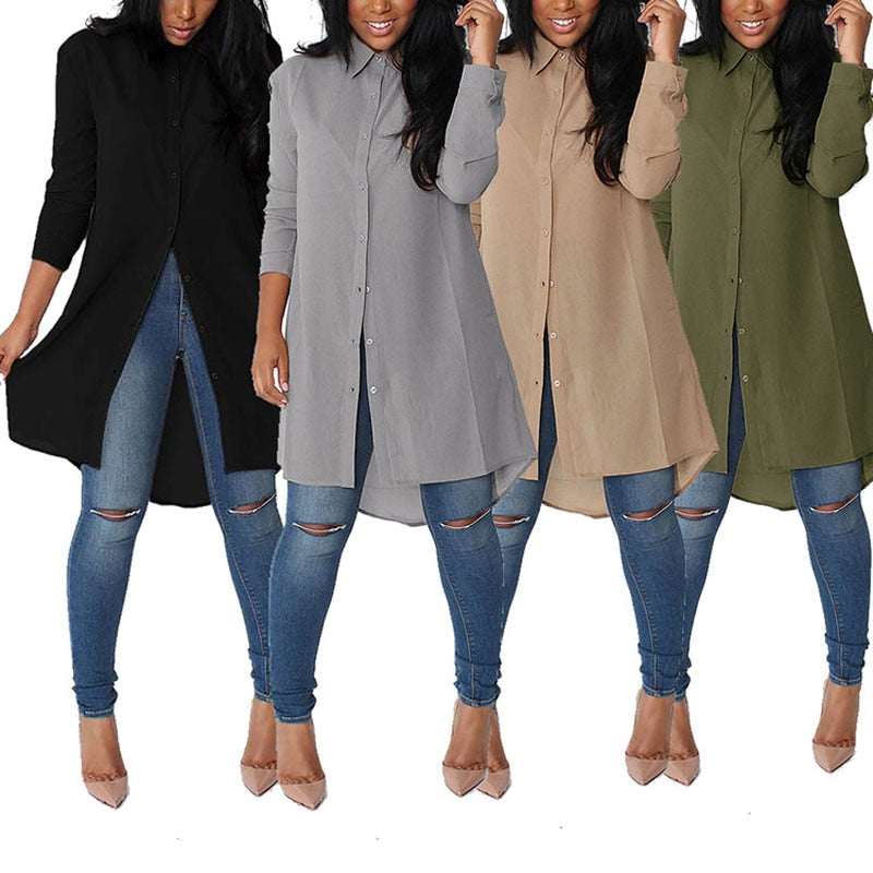 Chiffon Shirt - Be Unique Boutique - Curvy Too - $15.99 - FREE SHIP - Simple to dress up or down, this long shirt features a turn-down collar, full sleeves, solid pattern and button closure. Pair with jeans or pants for a great look. Choose from 4 staple colors. From our be unique boutique. Description: Collar: Turn-Down, Sleeve Length: Full, Fabric: Chiffon, Length: Long, Pattern: Solid, Closure: Buttons.
