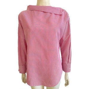 Striped Skew Collar Blouse
