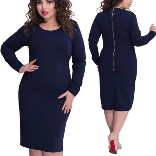 Classy Long Sleeve Dress - Unique Boutique - CURVY - FREE SHIPPING - Perfect for a day at the office or an evening on the town, this beautiful dress features full sleeves, solid print, long back zipper and falls slightly below the knee. Choose from navy or black. From our unique boutique. Description: Pattern: Solid, Material: Spandex, Polyester, Sleeve: Full, Dress Length: Slightly Below Knee
