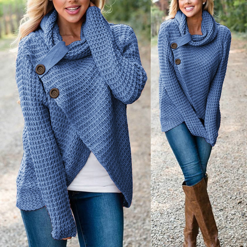 High-Low Knitted Pullover - Unique Boutique - TRENDY - FREE Ship - NEW - Anything but basic, this knitted pullover is essential for any wardrobe and comfortable, versatile and in style. Flattering any figure with a high-low hemline, two large front buttons and a cowl neckline with a roll tab. Choose from 10 colors. Available in women's and curvy sizes. From our unique boutique. Description: Neckline: Cowl, Closure: Pullover, Sleeve