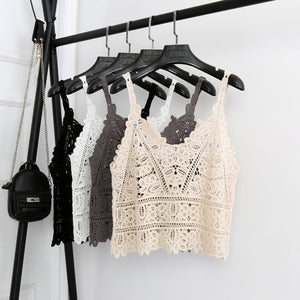Knitted Crop Top - Utterly Unique Boutique - $14.99 - TRENDY - FREE SHIPPING - Perfect for the season, this summer knitted crop top features a short length, v-neck, spaghetti straps, hollow out design and a solid pattern. Pair with jeans, pants or capris. Choose from cream, black or white. From our Utterly Unique Boutique. Description: Length: Short, Fabric: Knitted, Material: Rayon, Cotton, Fashion Element